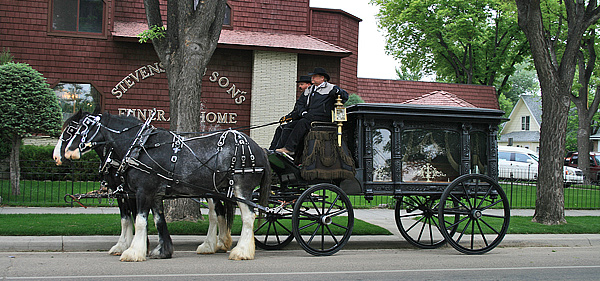 Our 2 horse-hitch hearse with glass-walled hearse carriage.